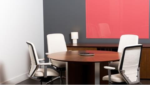 Desk with white Chairs and a Fiesta GlassWrite Magnetic Markerboard